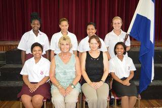 "Elizabeth Captain """" Nicole Louw, Vice-Captain """" Stacey Jacobs, Sports Captain ­- Tazmyn van der Mesch, Secretary """" Claire Malgas, Junior Captain -  Danita Prag."