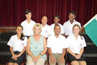 "Elton Captain """" Lindsay Mc Farlane, Vice-Captain """" Micheala Balie, Sports Captain """" Robyn Thompson, Play Director """" Anovuyo Selani, Secretary """" Busisiwe Rooibaard, Junior Captain """" Azraa Rockman."