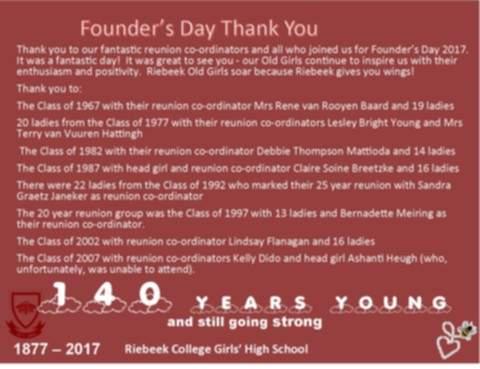 Founders day 2017 riebeek college girls high school uitenhage founders thank you2 m4hsunfo